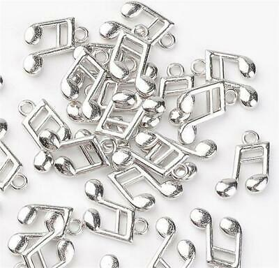 6 MUSICAL NOTE CHARMS PENDANTS BRIGHT TIBETAN SILVER 3D 16mm TOP QUALITY C103