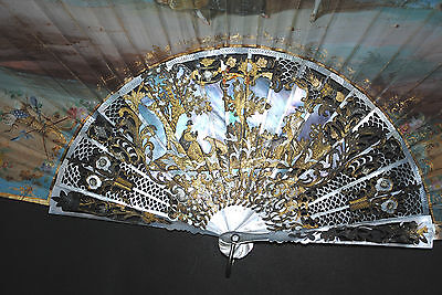 Superb Antique French Carved Gold Inlay Mother Of Pearl Painted Rococo Scene Fan