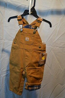 Carhartt Bib Overalls Flannel Lined Brown Toddler/Baby/Infant Sizes NWT