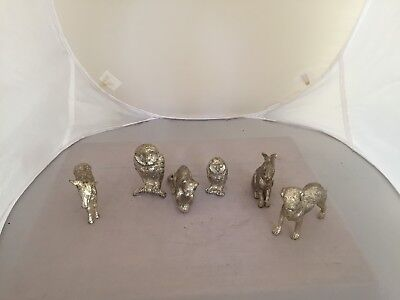 BEAUTIFUL SELECTION OF 10 SILVER PLATED ANIMAL FIGURES. FOXES, HORSES Etc