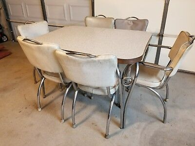 1940's 1950's Vintage Kitchen Table With 6 Chairs Original