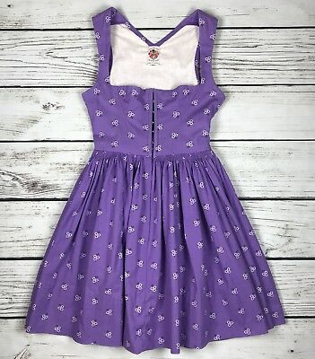 Vintage Austrian Original-Lanz Salzburg Wein DIRNDL Dress, Purple White, Size 38