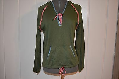 Vintage MOODYS GOOSE HOODED TOP Size Large Olive Green 1970s Long Sleeve ILGWU