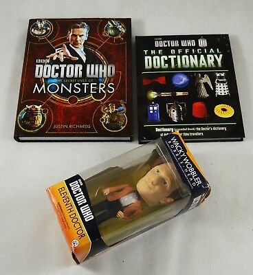 Job Lot of Dr Who Books and 'Bobble-Head' Figure. Official Dictionary, Monsters