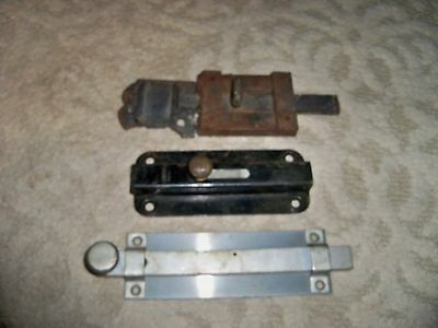 Lot of 3 Vintage Door Latch Cast Iron Slide Primitative Antique Dead Bolt