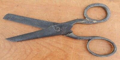 Early 19th C RODGERS Sailor's Sail Cloth Canvas & Leather Short Shears Sheffield