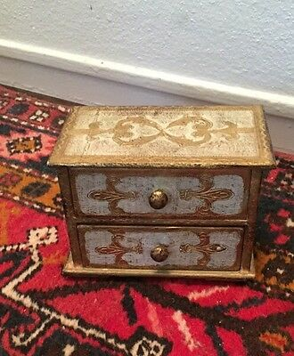 Vintage Italian Country Florentine Gold Tole Wood 2 Drawer Jewelry BOX
