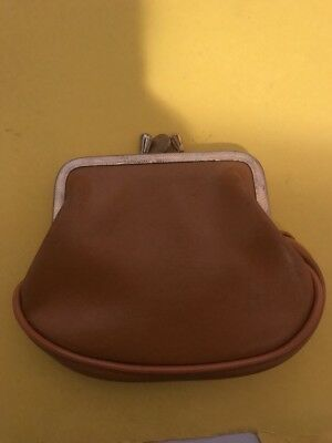 Retro Vintage Change Purse Tan Gold Coin Wallet Pocket Book