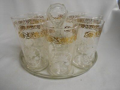 vintage Federal Glass serving tray with 8 glasses gold with white flower tumbler
