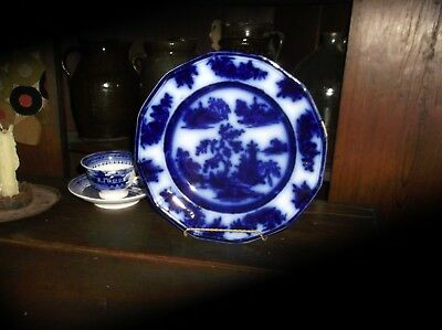 Beautiful Chapoo Pattern Early Victorian Flow Blue Plate Wedgewood
