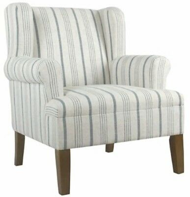 Phenomenal Blue Calypso Stripe Rolled Arm Wingback Accent Chair Gamerscity Chair Design For Home Gamerscityorg