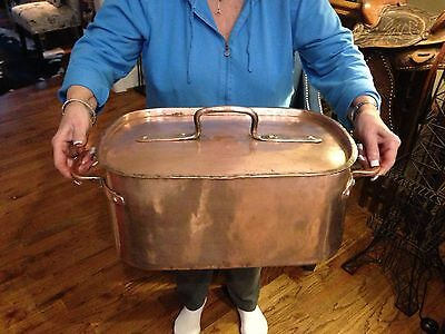 Huge Antique French 60cm Hammered Copper Daubiere Early 19th Century Tin Lined
