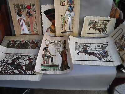 Egyptian Papyrus Paintings Total of 9 Prints