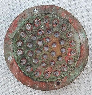 "Vintage / Antique Cast Brass or Bronze 3 1/8"" Concave Drain Cover Grate"
