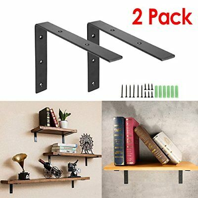 KINGSO 2 Pack 8''L x 6''H Handcrafted Forged Black Iron Shelf Brackets Wall Lip