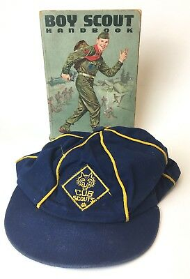 Cub Scouts of America Blue Gold Hat Vintage & Vintage 1964 Boy Scout Handbook