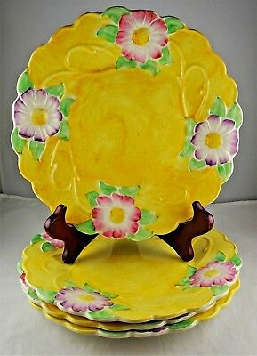 4 James Kent English China 1120 Luncheon Plates - Yellow w/Pink & Purple Floral