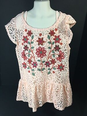Childrens Clothes Girls Size Medium 2 PC Set Lace Top & Silky Tank Beautees NEW
