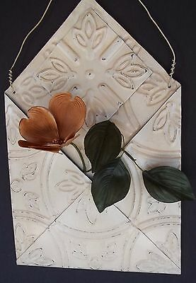 Vintage metal Ceiling Tile Wall Hanging Country Decor Beige Envelope Tin 14""