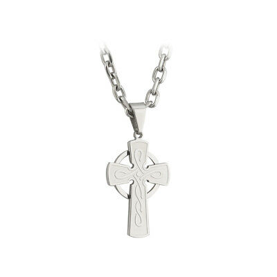 "New Celtic Cross Necklace Stainless Steel Engraved 18"" Chain Solvar Irish Made"