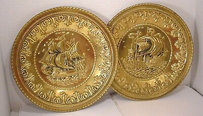 Pair Vintage England Pressed Brass Wall Hanging Tray Plate Sail Ship  12 Inches
