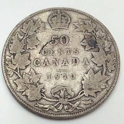 1910 Canada Fifty 50 Cents 925 Sterling Silver Circulated Canadian Coin D243