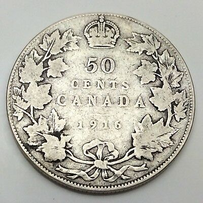 1916 Canada Fifty 50 Cents 925 Sterling Silver Circulated Canadian Coin D244