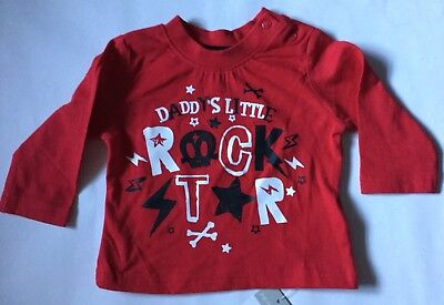 Baby Boys Red Long Sleeve T Shirt with Daddy's Little Rock Star detail