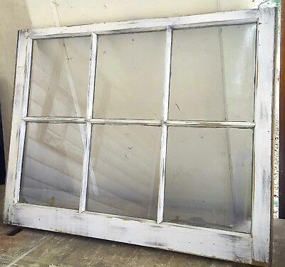 Architectural Salvage ~ 6 PANE ANTIQUE WOOD WINDOW SASH *distressed* 32x28