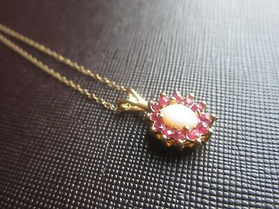 "Vintage 14K GOLD RUBY & WHITE OPAL PENDANT 20"" CHAIN NECKLACE Valentine's Day"