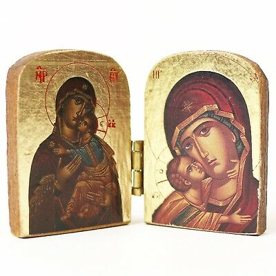 Old Religious Small Icon Decorative Wood Hinged Carved Reliquary Diptych