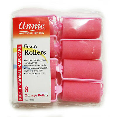 Annie Classic Foam Cushion Rollers #1054, 8 Count Pink X-Large 1-1/4""