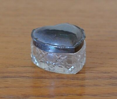 Antique Silver Vanity Jar -- Heart Shaped Glass Jar