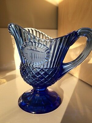 Vtg  AVON  Cobalt Blue GLASS CREAMER PITCHER G Washington  MT VERNON by Fostoria