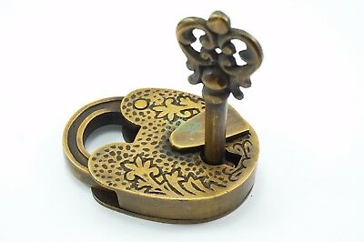 Brass Vintage Romantic Heart Lock Padlock with Key Antique Heavy Duty Working
