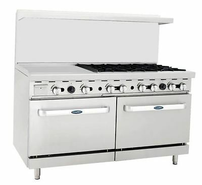 """New Heavy 60"""" Range 24"""" Griddle 6 Burners 2 Full Ovens Stove  Lp Prop Gas Only"""