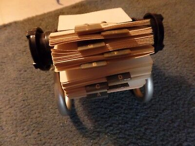 "Rolodex 5024X Black Rotary File Metal Stand with 2 1/4"" x 4"" Address Cards USA"