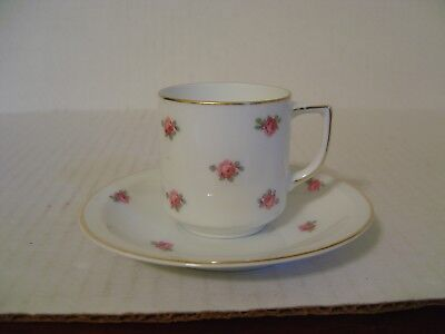 Vintage Thomas Bavaria Demitasse Cup And Saucer With Pink Roses 3180