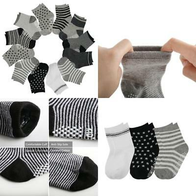 12 Pairs Assorted Toddler Socks Non Skid Anti Slip Stretch Knit Ankle Cotton for