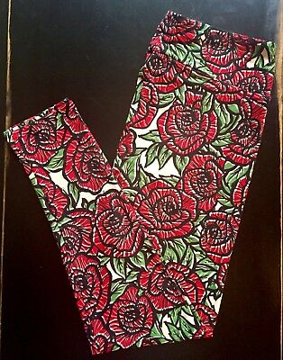 Gorgeous New TC STAINED GLASS ROSES Floral LuLaRoe LEGGINGS Unicorn RED Black