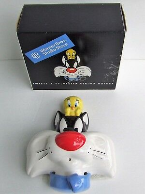 Warner Bros Studio Store 1998 Tweety & Sylvester Ceramic String Holder Scissors