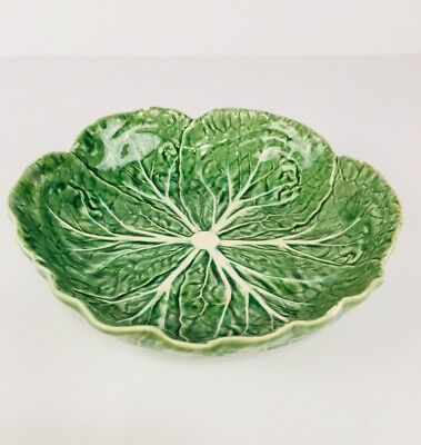 Bordallo Pinheiro Green Cabbage Salad Bowl from Portugal Dinnerware Authentic