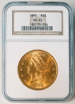1895 $20 Liberty Double Eagle Gold Coin - NGC MS62 - Early Grade - Estate Sale