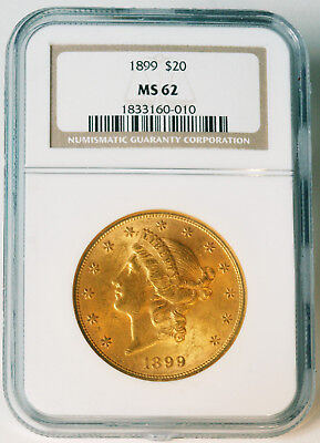 1899 $20 Liberty Double Eagle Gold Piece - NGC MS62 - Early Grade - Estate Sale