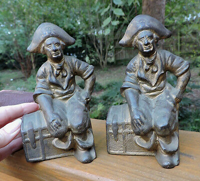 Vintage ART DECO Cast Iron PIRATE w/ Treasure Chests BOOKENDS c1920-30s 6 ins.