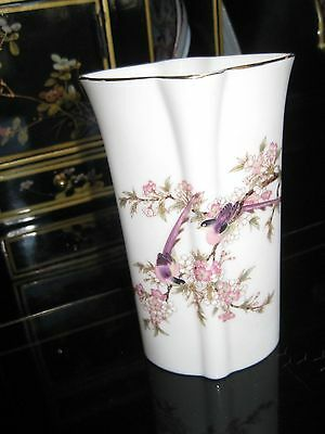 ANTIQUE Kutani Toyo Porcelain Vase Purple Bird Japan Flower Gloss Glaze
