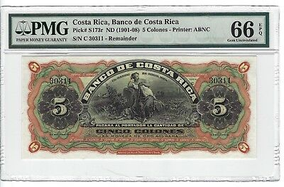 P-S173r 1901-08 5 Colones,Banco de Costa Rica,  PMG 66EPQ Pretty!