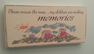 Shabby Chic Children Making Memories, Plaque , Sign. Solid Wood. Beautiful Gift.
