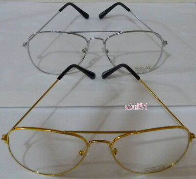 Vintage Pilot Aviator Retro Geek Clear Lens Classic Fashion Sunglasses New