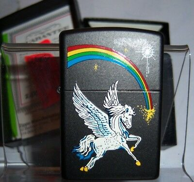 Never used - A collector's 2002 Zippo Lighter Black Matte Pegasus Rainbow